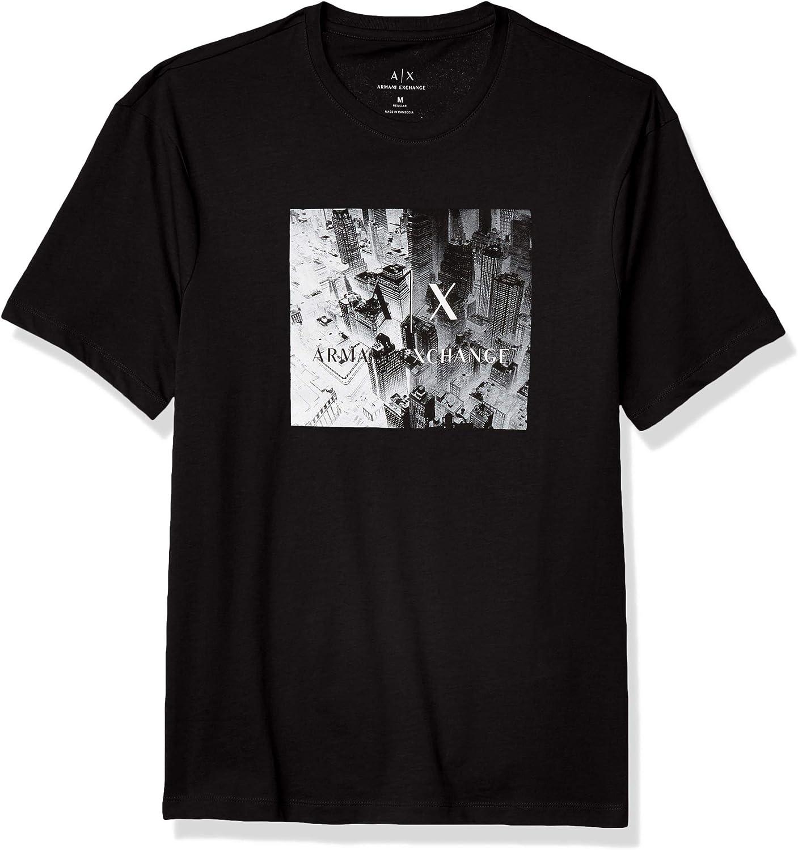Finally popular brand AX Armani Exchange Men's Crew Neck Short Easy-to-use Fit Sleeve Regular