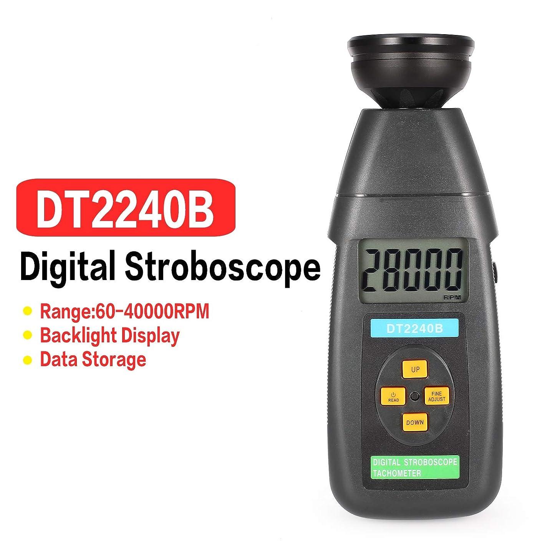 感度保全はさみDT2240BデジタルLCD非接触フラッシュストロボスコープタコメータ光電回転計スピードメータテスター60?40000RPM(カラー:グレー)