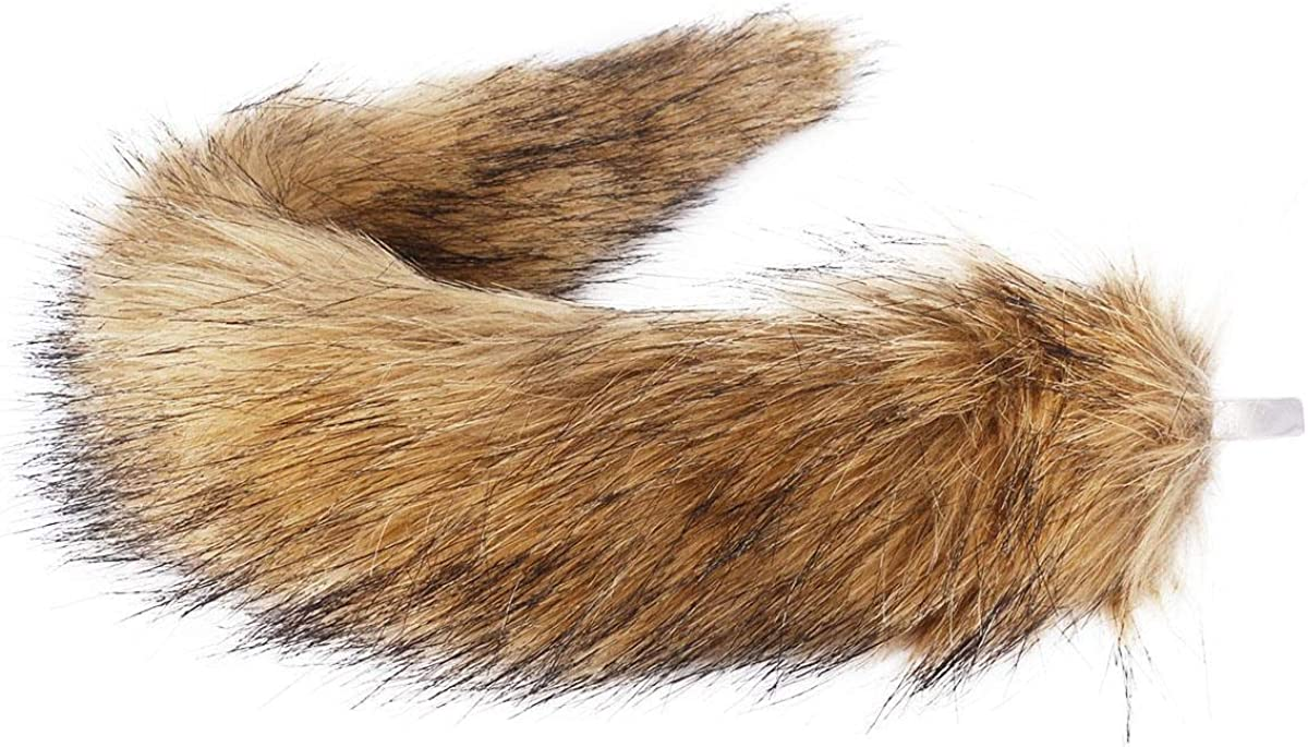 Lion Tail Plush Light Brown Long Fur Fabric With Elastic Waistband Animal Outfit