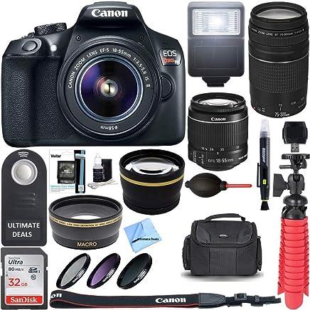 Canon T6 EOS Rebel DSLR Camera w/EF-S 18-55mm is II & 75-300mm III Lens Kit + Accessory Bundle 64GB SDXC Memory + SLR Photo Bag + Wide Angle Lens + 2X Telephoto Lens + Flash + Remote+ Ultimate Bundle