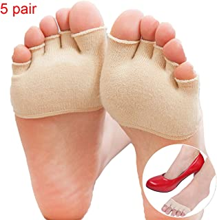 Wecando 5 Pairs Fore Foot Cushion Sole Protectors Covers Pads Toe Separating Socks