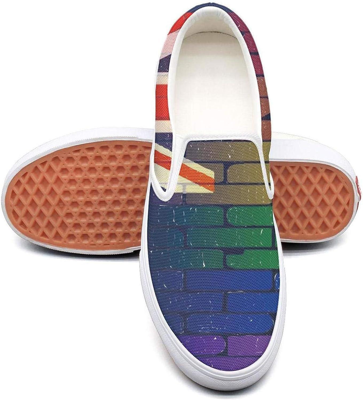 RegiDreae Canvas Slip on Sneakers for Women Gay Rainbow Wall Alabama Flag Fashion Sneaker