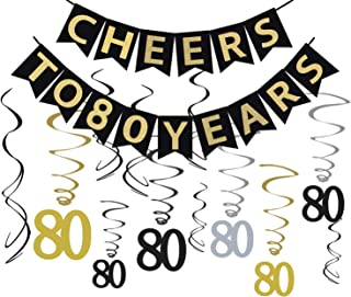 Tuoyi 80th Birthday Party Decorations KIT - Cheers to 80 Years Banner, Sparkling Celebration 80 Hanging Swirls, Perfect 80 Years Old Party Supplies 80th Anniversary Decorations
