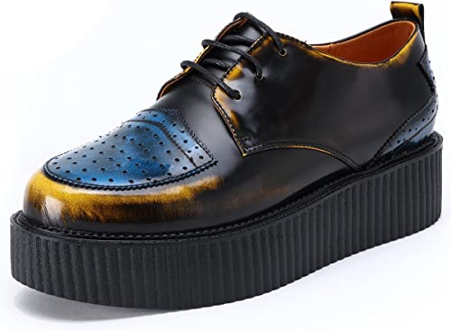 RoseG Homme Cuir Lacets Derby Creeper Plateaforme Chaussures