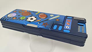 Hot Focus Sport Multifunction Pencil Case,Pencil Box for Boys. 2 Compartments Unique Stationery Set w/Pop Out Calculator and Pencil Sharpener. Best Back to School Gift Set for Kids, Boy & Teen.