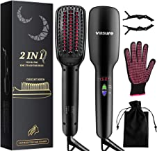 Hair Straightener Brush, Villsure Fast Ceramic Heating Hair Straightening, Anti Scald Feature,LED Display,Auto Temperature Lock and Auto-off Hair Straightening Comb for Travel & Daily Life