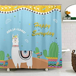 ZOEO Alpaca Shower Curtain Llama Hipster Cactus Tropical Bathroom Fabric Shower Curtain Set Backdrop 12 Hooks Waterproof Polyester Washable for Girl Boy 72x72 inch