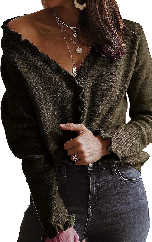 PRETTYGARDEN Women's Crop Cardigan Sweater Long Sleeve Button Down Off Shoulder KnitSweaters Top