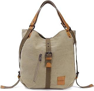 comprar comparacion Bolso de hombro JOSEKO de lona Mochila para mujer, bolso convertible de mochila multifuncional para el trabajo, escuela, p...