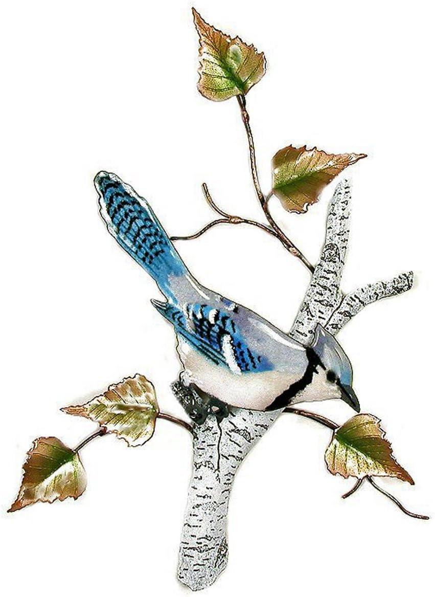 WALL ART - BLUE Genuine JAY IN BIRCH TREE Cheap mail order shopping SCULPTURE DE METAL