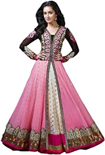 c8754a0160 J.AnanD Women's Pink Georgette Semi Stitched Free Size Salwar Suit Set