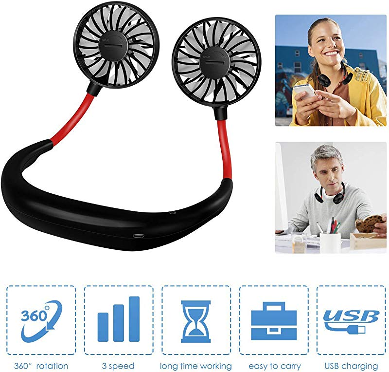 Letlar Hand Free Personal Fan Portable USB Battery Rechargeable Mini Fan Neckband Fans Adjustment Desktop Wearable Cooler Fans For Traveling Camping BBQ Gym Outdoor Office With A Rubber