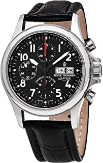 Revue Thommen Airspeed Heritage - Black Dial Chronograph Day Date Revue Thommen Watch Mens - Black Leather Band Swiss Revue Thommen Automatic Watch 17081.6537