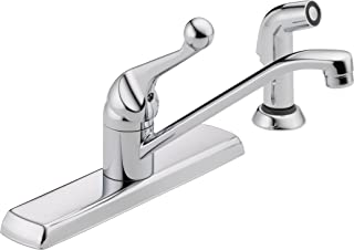 Delta Faucet 420LF Classic, Single Handle Kitchen Faucet with Spray, Chrome