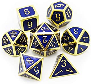 Haxtec Metal DND Dice Set 7 Die Gold Blue Metal D&D Dice for Dungeons and Dragons Games-Glossy Enamel Dice (Gold Blue)
