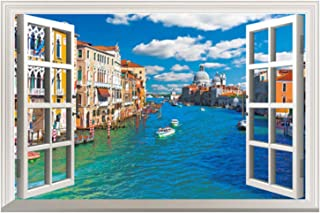 Fake Window Wall Decal Fatheads Stickers for Wall Faux Windows for Walls Cubicle Decorations Decor Tropical Wallpaper Ocean Town Murals for Walls Window Mural Wall Posters for Bedroom Wall Clings