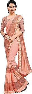 Designer Lycra Frill & Sequin Border Net Blouse fancy Indian Woman girls Cocktail Saree Sari 6803