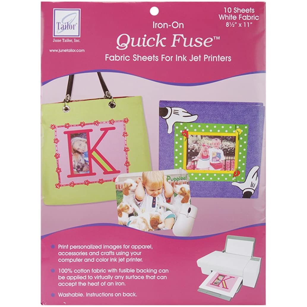 June Tailor Quick Fuse Iron-On Inkjet Fabric Sheets, White, 10-Pack