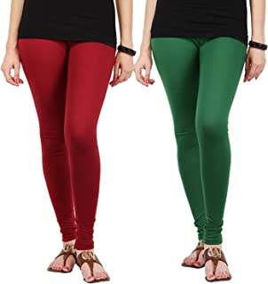 Pixie Women's/Girls Cotton Lycra 160 GSM 4 Way Stretchable Churidar Leggings Combo Maroon and Dark Green (Pack of 2) - Fre...