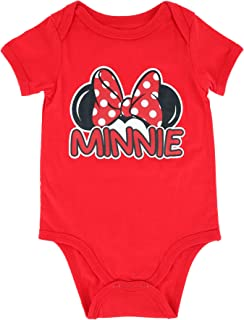 Minnie Mouse Short Sleeved Onesie, Disney World Body Suit for Baby Girl, Newborn Gift Idea