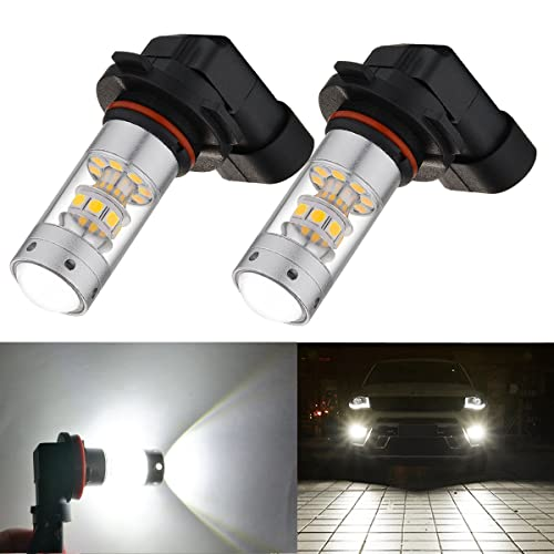 NSLUMO 2pcs Red 9145 H10 LED Bulbs For High Beam Daytime Running Lights or Fog Light Replacements Hid Halogen bulb kit H10 9145, Red