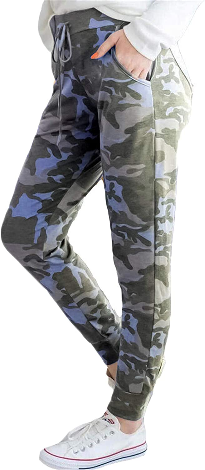 Andongnywell Women's Digital Print Lift Buttock high Waist Camouflage Casual Pants with Pockets Trousers