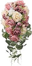 باقة باقة زهور صناعية من HiiARug باقة زهور من باقة زهور لحفلات الزفاف والكنيسة لتزيين المنزل (الورد العاجي)