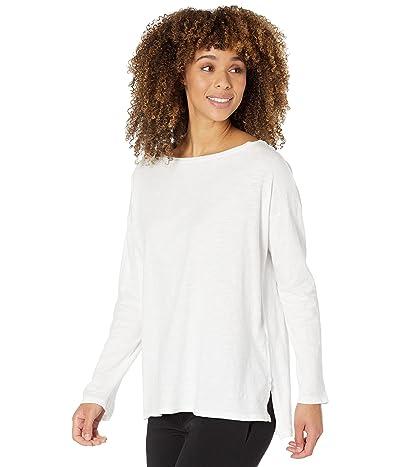 Eileen Fisher Long Sleeve Boatneck Box Top in Slubby Organic Cotton Jersey