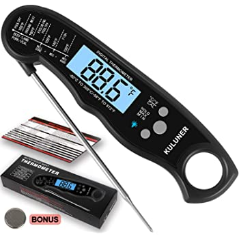 """Waterproof Digital Instant Read Meat Thermometer with 4.6"""" Folding Probe Backlight & Calibration Function for Cooking Food Candy, BBQ Grill, Liquids,Beef(Black)"""