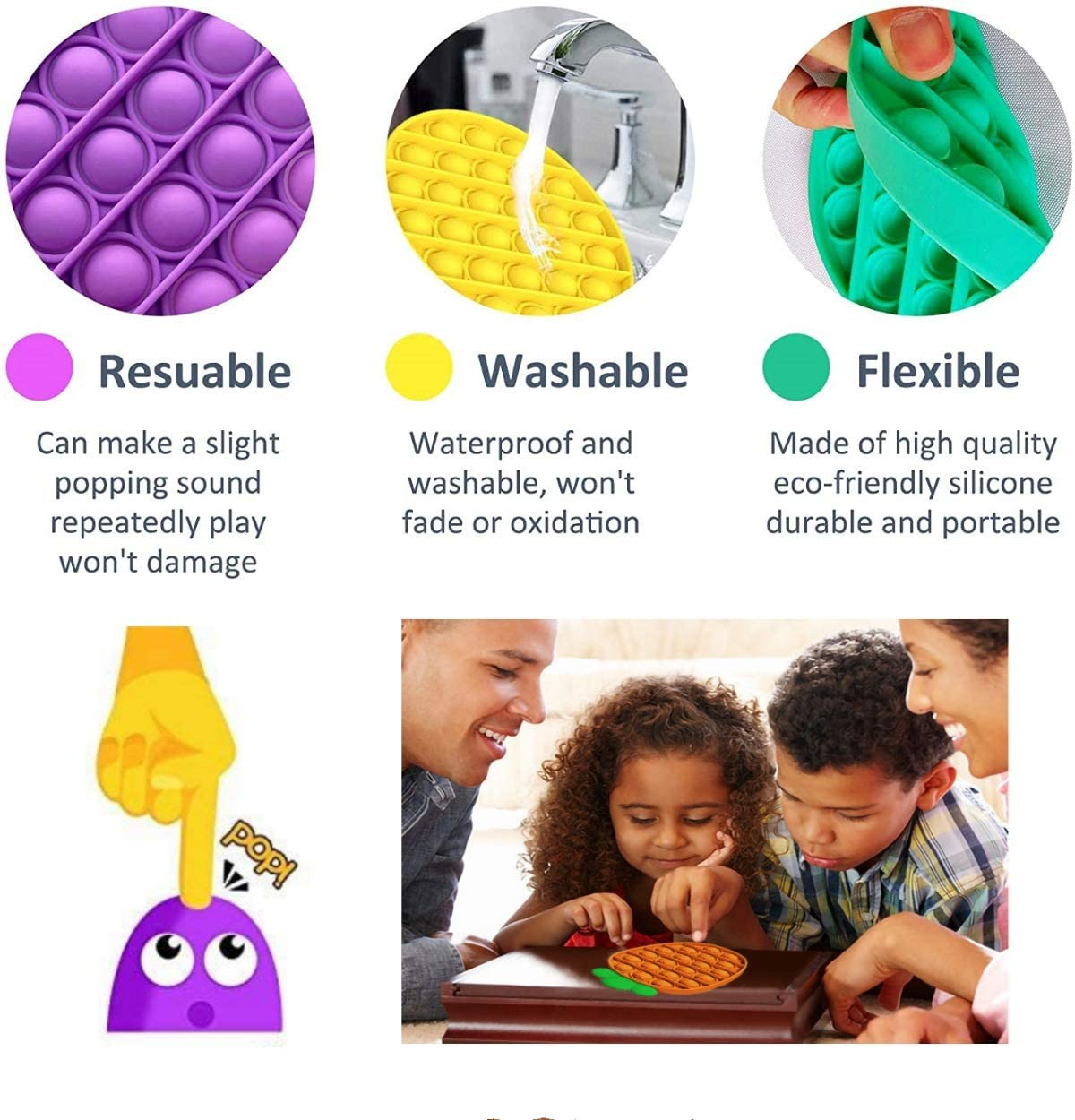 Silicone Stress Reliever Toy Suitable for Adults and Children Relieve Stress and Interact Push Pop Bubble Fidget Sensory Toy Squeeze Sensory Toy 4 Pack