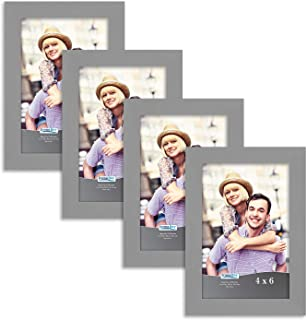 Icona Bay 4x6 Picture Frame Set (4 Pack, Gray) 4x6 Frame, Tabletop and Wall Hang Hardware Included with Photo Frames, Impresia Collection