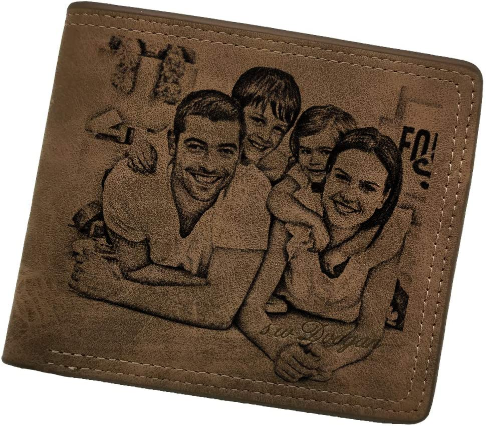 Men's Wallets Money Clips Customized Photo Text Soft 2 Fold Wallet Holiday Anniversary Gift (dark brown)