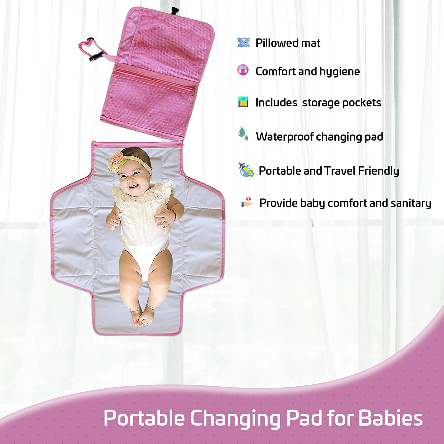 KM Collection Baby Portable Quick Changing Table Pad, Diaper Bag, Foldable Waterproof Travel Mat with Built-in Head Cushion, Newborn Baby Essentials, Baby Shower Gifts (Pink Color)