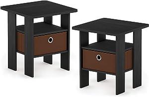 FURINNO Andrey 2-Pack Bin Drawer End Table Nightstand, Americano/Medium Brown