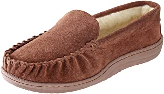 Suede Slippers for Men - Royce Moccasin Slippers Mens Shoes - Faux Fur Coral Fleece Lining - Genuine Suede Leather Slippers
