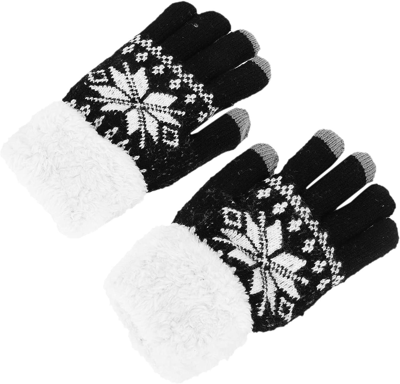 KESYOO 1 Pairs Knit Gloves Winter Warm Gloves Plush Lined Gloves Thickened Full Finger Mittens for Men Women, Black