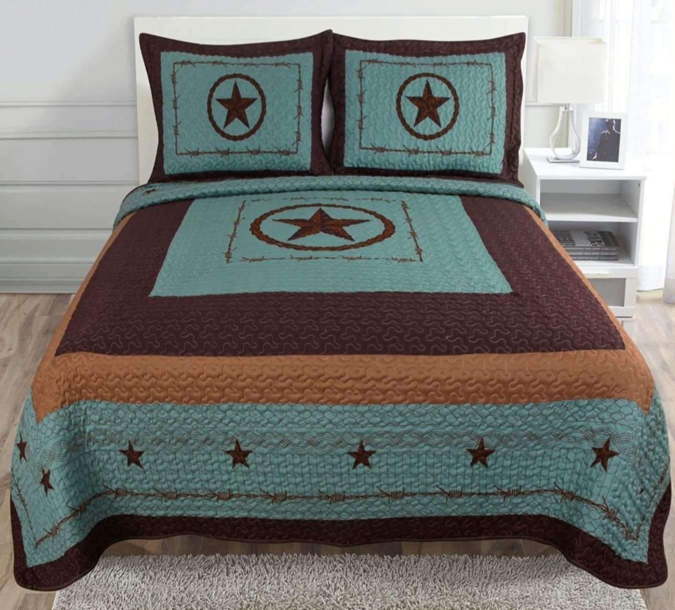 3-piece Western Lone Star Barb Wire Cabin / Lodge Quilt Bedspread Coverlet Set (Queen) x8759274418