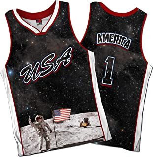 Greater Half: USA Galaxy Basketball Jersey America Jersey #1 (S-XXXXL)
