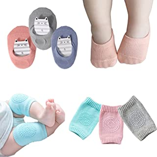 Baby Crawling Anti-Slip Knee Pads and Anti Slip Baby Socks Best Infant Gift,Unisex Baby Toddlers Kneepads 3 Pairs, Soft Cotton Boys Girls Grip Crawling Socks 3 Pairs(Kneepads and socks)