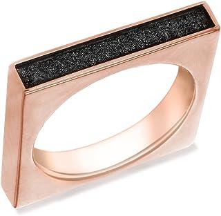 Tuscany Silver 女式纯银玫瑰金镀黑闪光方形边缘戒指