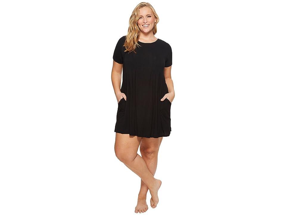 Donna Karan Plus Size Modal Spandex Jersey Sleepshirt (Black) Women