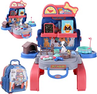 Pretend Play House Kitchen Backpack, Toy Backpack 3 in 1, 21pcs Simulation Props, Removable and Easy to Store, Including P...