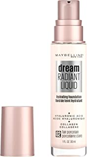 Maybelline New York Dream Radiant Liquid Medium Coverage Hydrating Makeup, Lightweight Liquid Foundation, 02 Fair Porcelain, 1 Fl. Oz