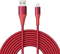 Xcentz iPhone Charger 10ft, Apple MFi Certified Lightning Cable, Braided Nylon High-Speed iPhone Cable with Premium Metal Connector for iPhone X/XS/XR/XS Max/8/7/6/5S/SE, iPad Pro/Mini/Air, Red