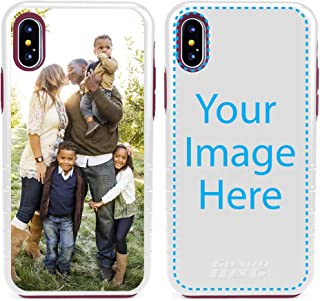 Custom iPhone X/XS Cases by Guard Dog - Personalized - Make Your Own Rugged Hybrid Phone Case. Includes Guard Glass Screen Protector. (White, Maroon)
