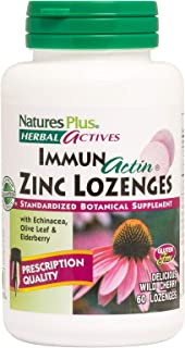 NaturesPlus Herbal Actives ImmunActin Zinc Lozenges - 10 mg Zinc, 60 Vegan Lozenges - Wild Cherry Flavor - Immune Booster with Echinacea & Elderberry - Vegetarian, Gluten-Free - 60 Servings