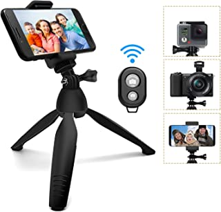 Phone Tripod, SYOSIN Mini Camera Tripod Selfie Stick Mini Tabletop Travel Stand Adjustable Camera Stand Holder with Wireless Remote Shutter and Universal Clip for DSLR, Gopro, Samsung, iPhone, More