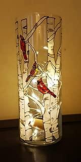 Red Cardinal Bird Birch Tree Hand Painted Glass 9 Inch Cylinder Flower Vase