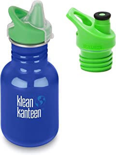 Klean Kanteen 12 oz Classic Single Wall Bottle, Costal Waters, with Sippy Cap and Sport Cap 3.0 Green