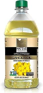 Native Harvest Expeller Pressed Non-GMO Canola Oil, 2 Liter (67.6 FL OZ)